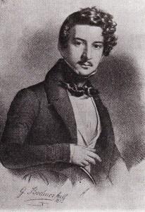 Le Prince Gagarine en 1835 - lithographie de Gottlieb Bodmer